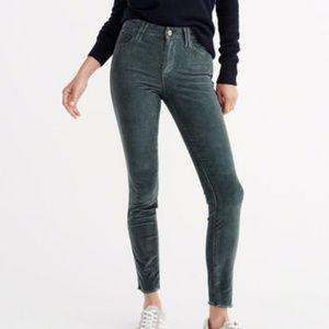 Abercrombie Super Skinny Teal Green Corduroy Pants